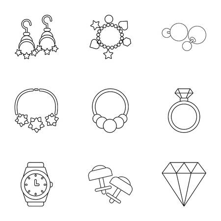 Encrusted icons set. Outline set of 9 encrusted vector icons for web isolated on white background