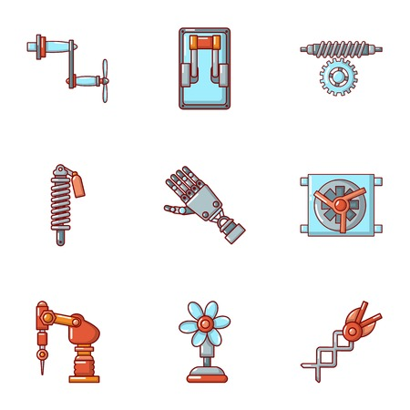 Robotize icons set. Cartoon set of 9 robotize vector icons for web isolated on white background