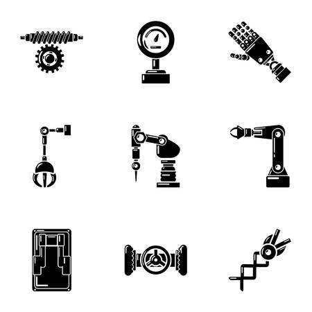 Robot like icons set. Simple set of 9 robot like vector icons for web isolated on white background