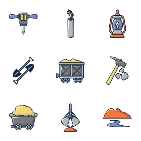 Ore mining icons set. Cartoon set of 9 ore mining vector icons for web isolated on white background  イラスト・ベクター素材