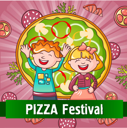 Happy kids pizza festival concept background, cartoon style Illustration