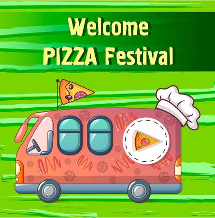 Pizza festival truck concept background. Cartoon illustration of pizza festival truck vector concept background for web design