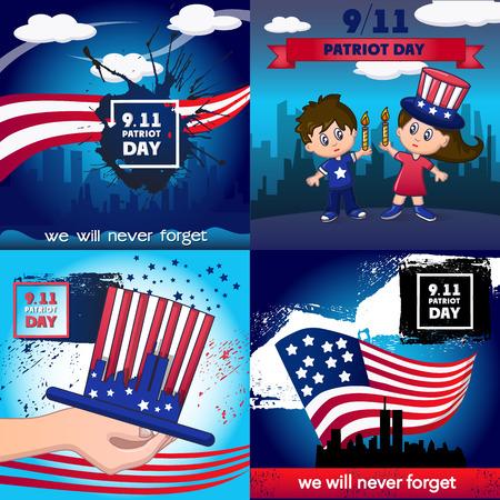 Patriot day banner concept set, cartoon style