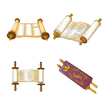 Torah scroll book bible shavuot icons set. Cartoon illustration of 4 Torah scroll book bible shavuot vector icons for web
