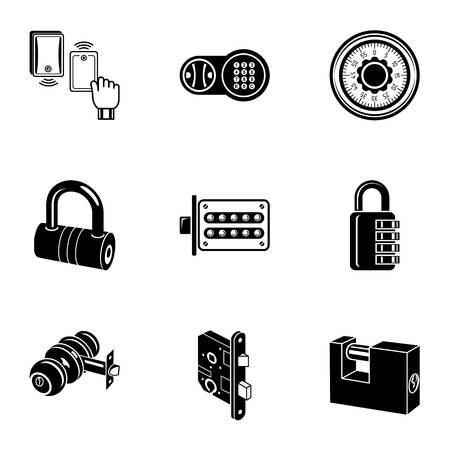 Complex lock icons set, simple style
