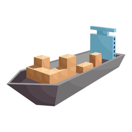 Cargo ship icon, cartoon style