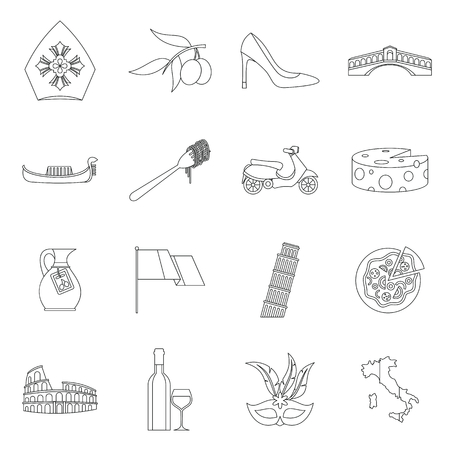 Italia icons set, outline style Stock Photo