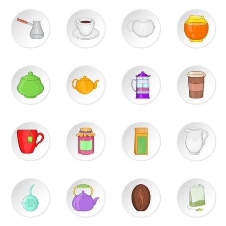 Tea and coffee icons, cartoon style