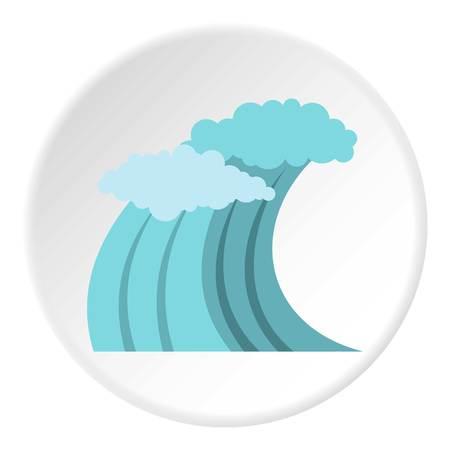 Surfer blue wave icon, flat style Stock Photo