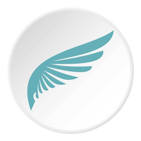 Blue wing icon, flat style