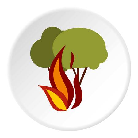 Fire in woods icon, flat style