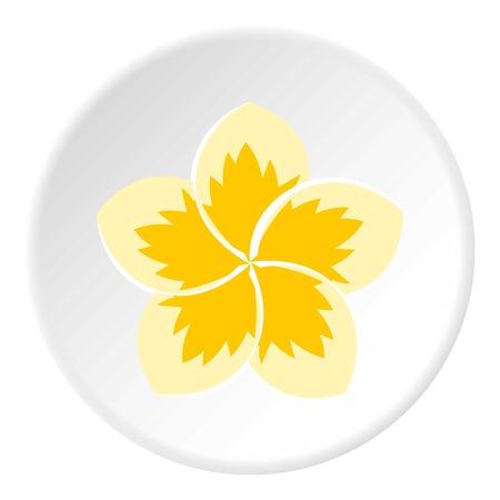 Frangipani flower icon, flat style