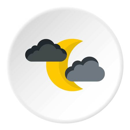 Crescent moon and clouds icon, flat style Foto de archivo