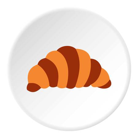 Croissant icon, flat style Stock Photo