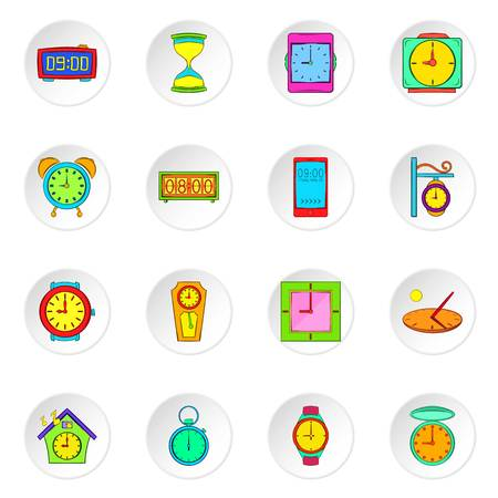 Clock icons set. Flat illustration of 16 clock icons for web