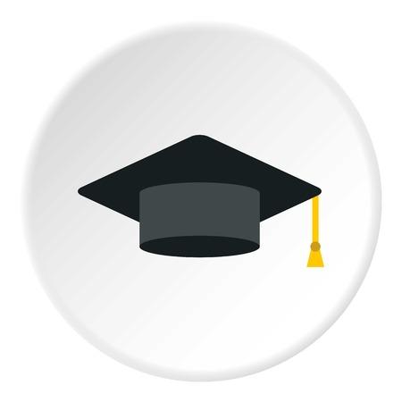 Graduation cap icon. Flat illustration of cap icon for web design