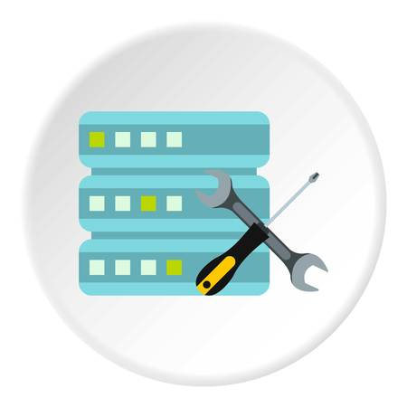Configuring cells for data storage icon. Flat illustration of configuring cells for data storage icon for web