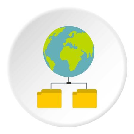 Cloud file storage icon. Flat illustration of cloud file storage icon for web