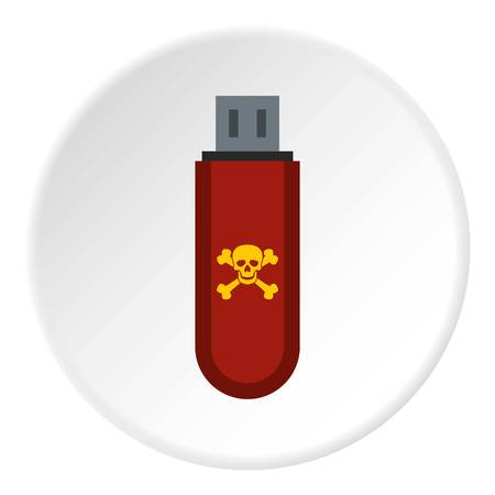 Usb flash drive with virus icon. Flat illustration of usb flash drive with virus icon for web
