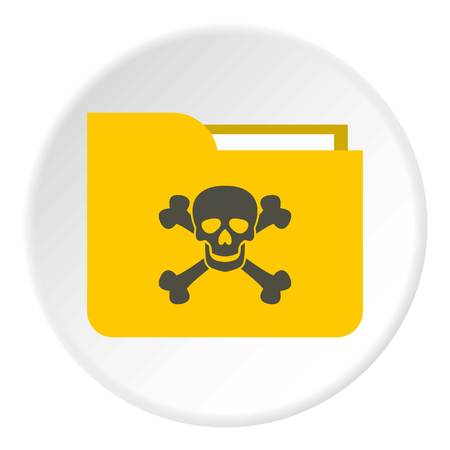 Virus in e-mail icon. Flat illustration of virus in e-mail icon for web