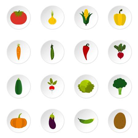 Vegetable icons set. Flat illustration of 16 vegetable icons for web