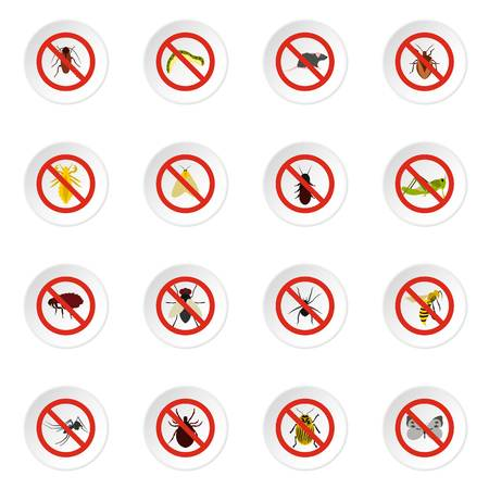 No insect sign icons set. Flat illustration of 16 no insect sign icons for web