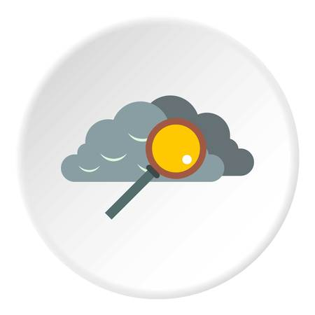 Search files in cloud storage icon. Flat illustration of search files in cloud storage icon for web