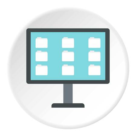 Storing files in computer icon. Flat illustration of storing files in computer icon for web Фото со стока