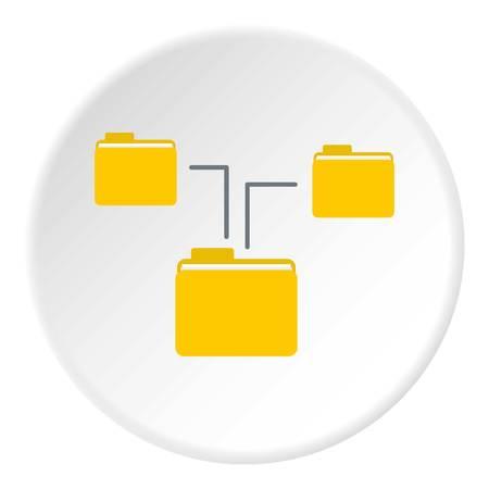 Folders on computer icon. Flat illustration of folders on computer icon for web