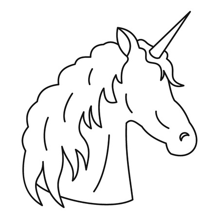 Unicorn icon, outline style Stock Photo