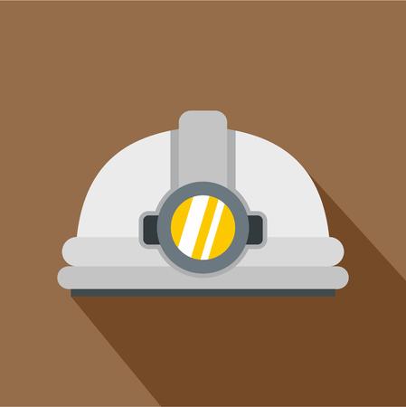 Helmet with light icon, flat style