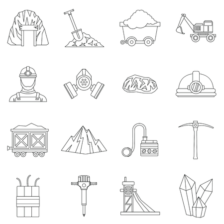 Miner icons set, outline style 스톡 콘텐츠