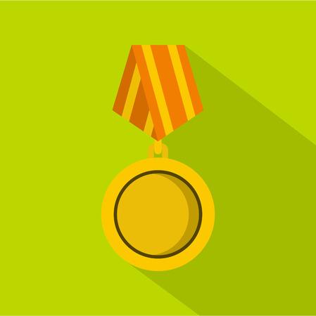 Winning medal icon, flat style Stock Photo