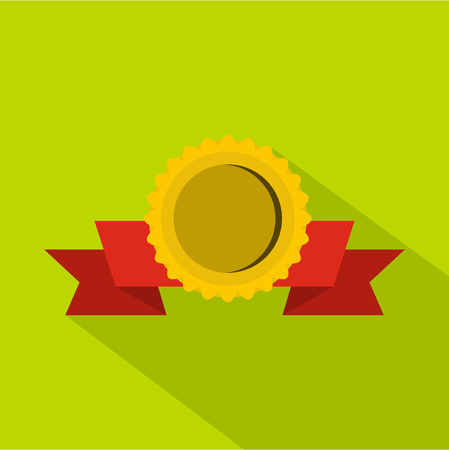 Medal with ribbon icon, flat style Stock Photo