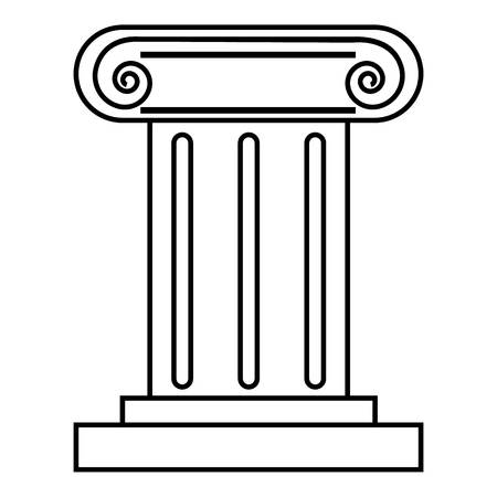 Roman pillar icon, outline style Stock Photo