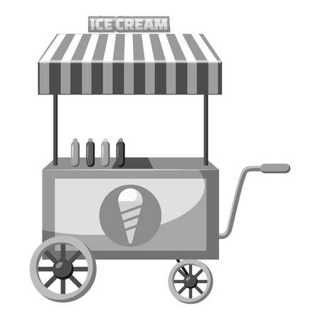Cart with ice cream icon, gray monochrome style