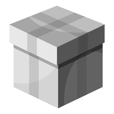 Box with lid icon, gray monochrome style