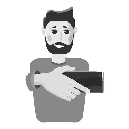 Man doing selfie icon, gray monochrome style