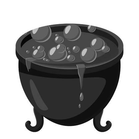 Witch cauldron icon, gray monochrome style