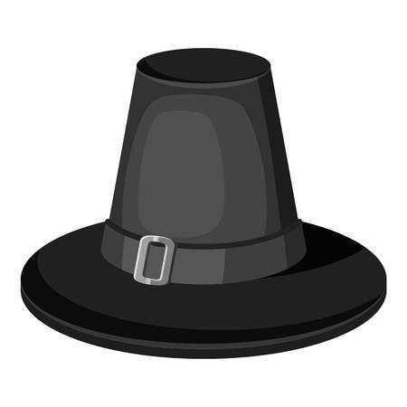 Pilgrim hat icon, gray monochrome style