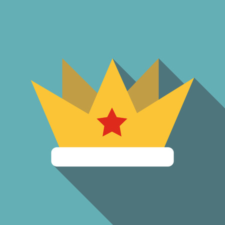 Crown with star icon, flat style