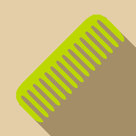 Green comb icon, flat style