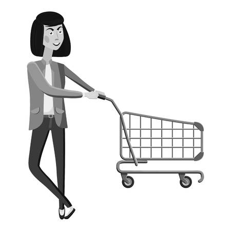 Woman with empty shopping cart icon