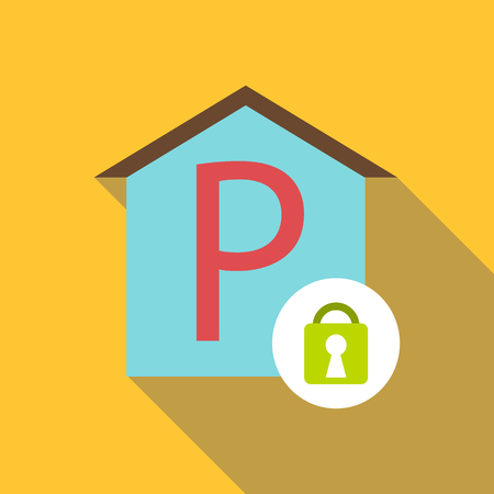 Covered parking place icon, flat style 写真素材 - 106939626