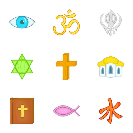 Spirituality icons set, cartoon style