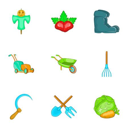 Agriculture icons set, cartoon style