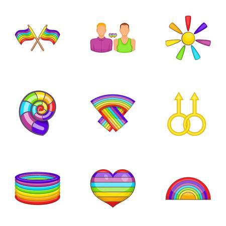 LGBT icons set, cartoon style