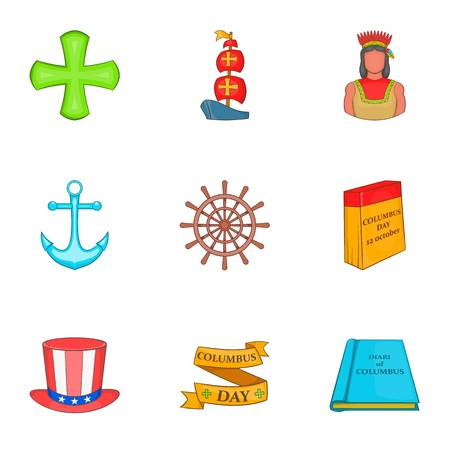 Columbus Day icons set, cartoon style