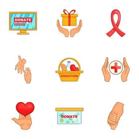 Philanthropy icons set, cartoon style