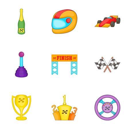 Championship formula 1 icons set, cartoon style
